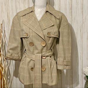 People Like Frank Plaid Trench Coat Size Medium